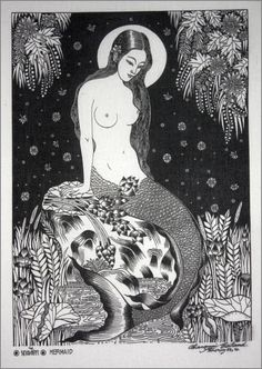 Thai traditional art of Mermaid by silkscreen by AmornGallery, ฿149.00