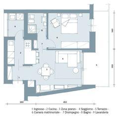 52 mq: una casa che sembra più grande! - Cose di Casa Studio Floor Plans, Small Floor Plans, Small House Plans, Small Space Living, Small Spaces, Cabin Design, House Design, One Bedroom House Plans, Single Apartment