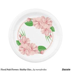 Floral Pink Flowers Shabby Chic Wedding / Party Paper Plate  sc 1 st  Pinterest & Burgundy Thank You Red Lovebirds Floral Wedding Paper Plate ...