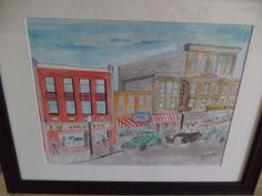 Downtown Yesteryears Watercolor Painting #Art #Sale
