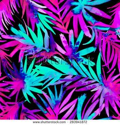 seamless tropical palms pattern. beautiful exotic abstract allover design. Palm leaves of different shapes in vibrant, neon colors. on dark background, for fashion, interior, stationery, web.  - stock photo