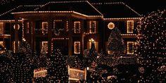 christmas light on houses