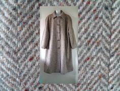 VTG 60s 70s LAURE Long Winter Herringbone Tweed Oversized Swing Coat Womens 24 29.99