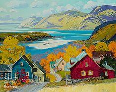 Louise Martineau - Éclaircie sur le fleuve Canadian Painters, Canadian Art, Landscape Art, Landscape Paintings, Z Arts, Autumn Art, Colorful Paintings, Artist Painting, Art Techniques