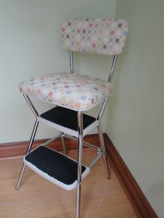 Vintage Turquoise And Chrome Cosco Like Chair With Step Stool Mid Century Shabby Chic Cottage