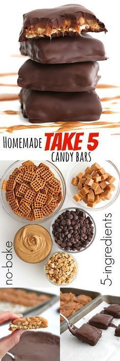 Homemade Take 5 Candy Bars {just 5-ingredients & no-bake}use gluten free pretzels to make gluten free. Chocolate Candy Bars, Pretzel Caramel Chocolate, Chocolate Desert Recipes, Caramel Deserts, No Bake Chocolate Desserts, Chocolate Bar Recipe, Salted Caramel Cupcakes, Desserts Nutella, Chocolate Peanuts