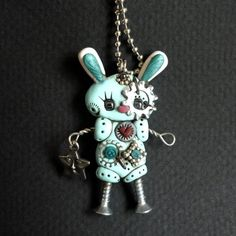 Steampunk  Bunny Rabbit Robot Turquoise Color Necklace Polymer Clay Jewelry. $24.00, via Etsy.