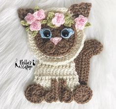 Crochet Applique Patterns Free, Crochet Cat Pattern, Crochet Motif, Cat Crochet, Crochet Pillow, Crochet Gifts, Crochet Dolls, Easter Crochet, Crochet For Beginners