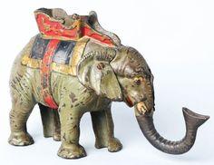 Cast Iron Hubley Elephant Mechanical Bank.