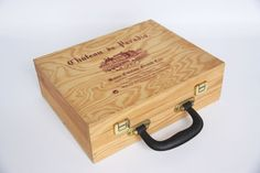 French wooden wine case, Château du Paradis Saint Emilion Grand Cru wine box, made in France wine collectible, French wine crate