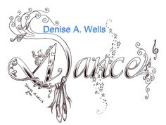 """Dance"" tattoo design by Denise A. Wells including musical notes, ballet slippers, flower, musical score, and stardust pattern...."