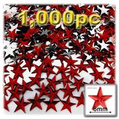 Flatback Rhinestones, Faceted Star, 6mm, 1000-pc, Devil Red Wine
