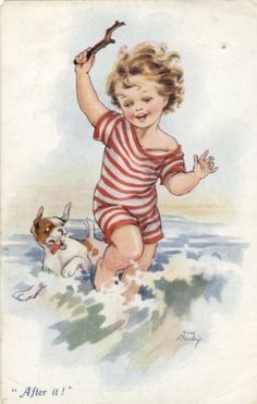 "Vintage Illustration Nina Brisley (British, ""After it! Art Vintage, Photo Vintage, Vintage Artwork, Poster Vintage, Vintage Cards, Vintage Postcards, Vintage Prints, Vintage Pictures, Vintage Images"