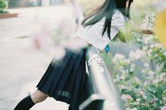 flower, girl, and school uniform image School Uniform Images, School Uniform Girls, Girls Uniforms, Ulzzang Couple, Ulzzang Girl, Japanese Models, Japanese Girl, Asian Photography, Innocent Girl