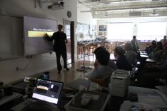 """NASA Research Scientist Shawn Domagal-Goldman spoke to students taking the semester-long course, """"Evolution of the Biosphere,"""" about searching for water on other planets. November 2013"""