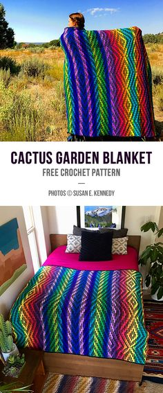 Cactus Garden Blanket Free Crochet Pattern Cactus Garden Blanket Free Crochet Pattern,Decken Photos © Susan E. I found a beautiful project for you today. It is a colorful blanket that will decorate. Crochet Afgans, Knit Or Crochet, Free Crochet, Blanket Crochet, Drops Design, Garnstudio Drops, Knitted Blankets, Throw Blankets, Baby Blankets