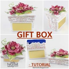 Today I come back with my inspiration for Heartfelt Creations DT. Create a die cut sweet gift box. Heartfelt Creations, Photo Tutorial, Flower Shape, Small Flowers, Card Stock, Scrapbooking, Paper Crafts, Tutorials, Box