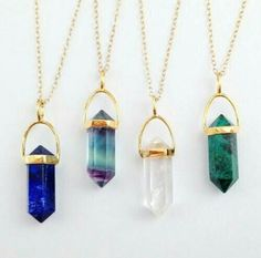Gemstone Point Necklace – Lapis – Crystal Quartz – Rainblow Fluorite – Green Crysocolla – Gold Spike Necklace - diy jewelry To Sell Ideen Gemstone Necklace, Crystal Necklace, Quartz Necklace, Ring Necklace, Crystal Pendant, Pendant Necklace, Green Necklace, Gold Pendant, Bracelets
