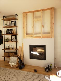 DIY Electric Fireplace How-To Tutorial - Kismet House - Modern Design Fireplace Tv Wall, Build A Fireplace, Fireplace Bookshelves, Bedroom Fireplace, Faux Fireplace, Fireplace Remodel, Fireplace Surrounds, Fireplace Design, Living Room Sets