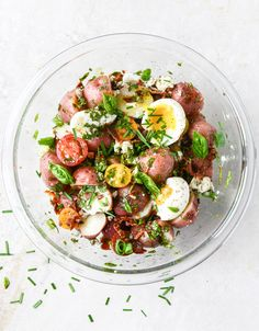 bacon blue potato salad with soft boiled eggs