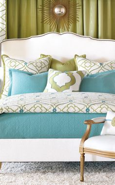 Love the bed and the bedding.