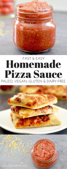 Easy Homemade Pizza Sauce Recipe! 5 minutes and 9 ingredients results in the best pizza sauce you will ever have! Gluten-free, paleo-friendly, dairy-free, & vegan!