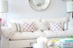 purple and turquoise living room love the mix of patterns
