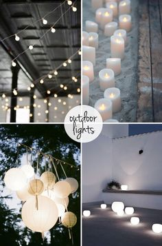 Outdoor lights :: I especially love the group of paper lanterns...