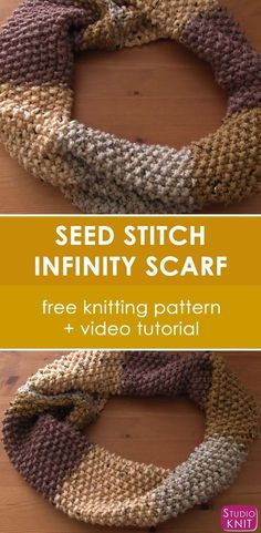 Seed Stitch Infinity Scarf Cowl. Easy Free Knitting Pattern and Video Tutorial for Beginning Knitters by Studio Knit.