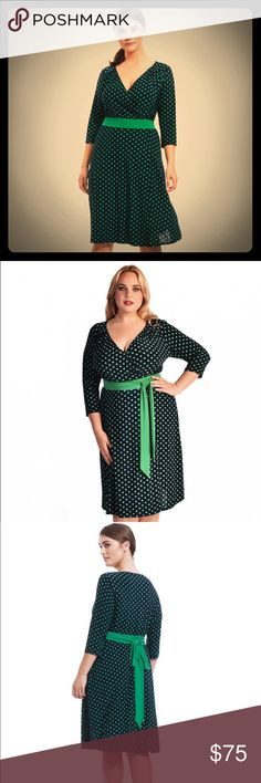Igigi Dominique Dots Dress NWT 14/16 1X Retro! Vintage inspired and SO cute, this dress is NAVY (NOT black) and Kelly green, slinky stretch jersey with fixed sash that can be tied front or back (as shown), 3/4 sleeves, surplice neckline, and falls below the knee. By Igigi, tag size 12, which fits 14/16 or 1X. Igigi's sizing runs HUGE, believe me.😂 Igigi Dresses Midi