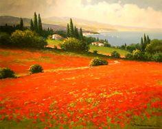 Red Poppy Field by Gerhard Nesvadba
