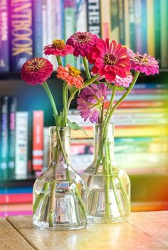 Zinnias with pleasant pink promise peaceful ponderings