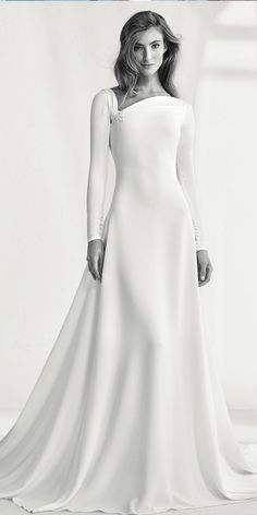 One of the most gorgeous, understatedly elegant wedding dresses I've ever seen. PRONOVIAS Wedding dress round back - Raigal Muslim Wedding Dresses, Muslim Brides, Country Wedding Dresses, Bridal Dresses, Wedding Gowns, Classy Wedding Dress, Lace Dresses, Lace Wedding, Dream Wedding