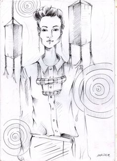fashion illustration drawing by pencil and ballpoint