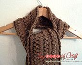 www.tinybitsofcraft.etsy.com  Long Mocha and Chocolate Brown Scarf, Hairpin Lace knit Crochet scarf, for women or teens