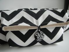 Clutch / Cosmetic Bag In Chevron Black White by SimplyTrendy2, $22.00