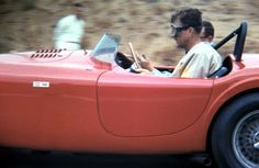 Carroll Shelby behind the wheel at Riverside International Raceway