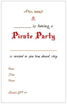 :) Pirate Party Invite