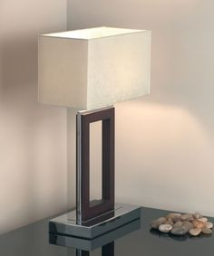 A stylishly contemporary dark wood and chrome table lamp, supplied complete with shade. The original design really stands out and makes this lamp a great looking ornament as well as a fantastic energy saving lighting solution. Contemporary Lamps, Bedside Table Lamps, Table Lamp, Chrome Table Lamp, Modern Table Lighting, Lamp Light, Dark Wood Table, Room Lamp, Contemporary Table Lamps