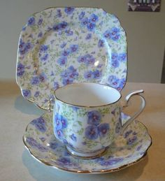 ROYAL ALBERT BLUE PANSY CHINTZ TEA SET TRIO (S) | eBay