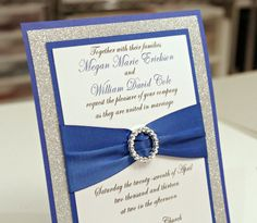Stunning Royal Blue & Silver Glitter Wedding Invitation Full of Bling, Sparkle, and Dazzle via Etsy