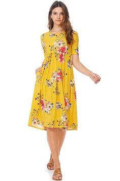 8ca8066ef89 Reborn J floral short sleeve midi dress boho bohemian style S M L XL   rebornJ  midi