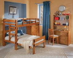 Here's a collection of 25 great wood L-shaped bunk beds with incredible space-saving features such as desks, drawers and shelving. Some have small staircases too.  I shared a great bunk bed with my brother growing up.