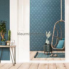 Denim ruit vergrijsd turquoise behang 17623 BN Wallcoverings