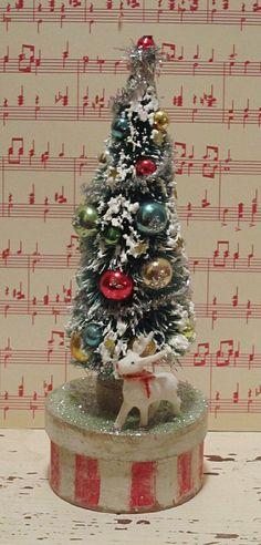 Vintage Bottle Brush Christmas Tree