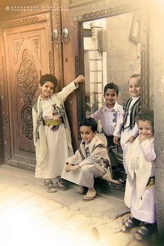 Cheerful, Happy, Smiley Go Lucky Arab Children in traditional cultural clothing.  The Best!