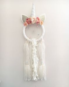 A personal favorite from my Etsy shop https://www.etsy.com/ca/listing/584816075/nevaeh-unicorn-dream-catcher