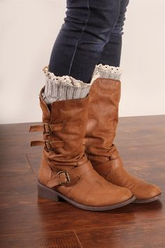 Lace Trim Boot Cuffs