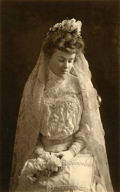 """I love the look of an old fashioned Victorian Bride. It's so """"now"""". It's also important to include homemade adult tulle tutus as brides maids dresses."""