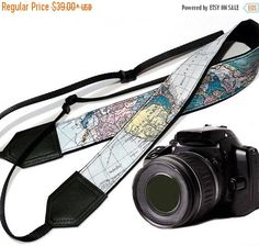 Straps On Sale World Map Camera Strap. DSLR and SLR Padded Camera Strap. Camera accessories. Great gift by InTePro